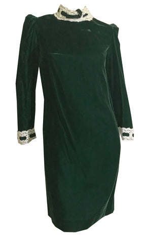 Forest Green Velveteen Mini Dress with Goth Attitude circa 1960s