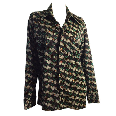 Green and Brown Jersey Nylon Geo Print Disco Shirt circa 1970s