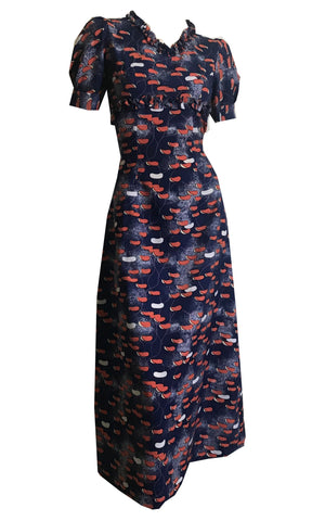 Calder Style Mobile Design Blue and Orange Print Empire Waist Midi Dress circa 1970s