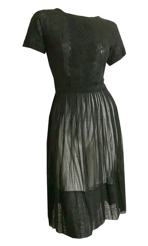 Sheer Black Cotton Embroidered  Day Dress Pleated Skirt circa 1960s