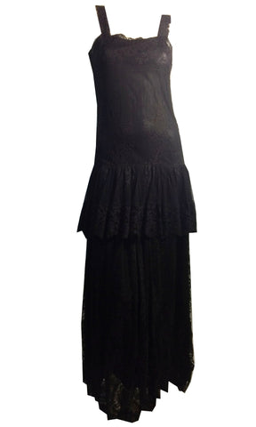 Elegant Black Lace Netting and Taffeta Dress with Obi Inspired Sash circa 1920s