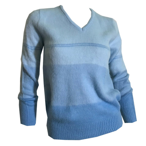 Ombre Bue Brushed Acrylic Long Sleeved Sweater circa 1970s