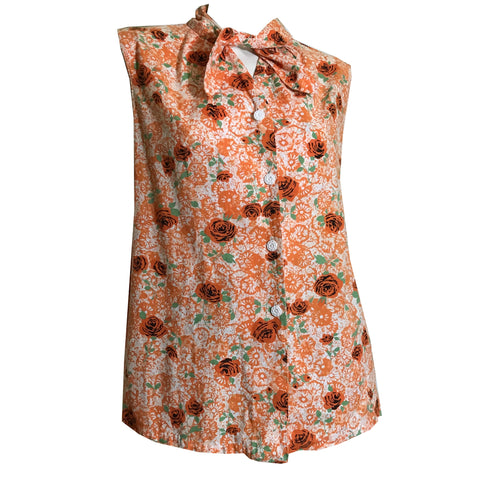 Orange Floral Print Cotton Swing Cut Maternity Blouse circa 1950s