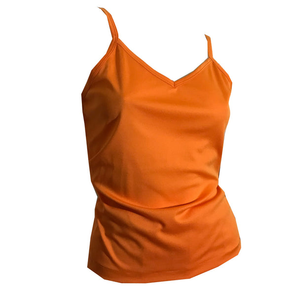 Citrus Orange Thin Polyester Tank Top Shirt circa 1970s