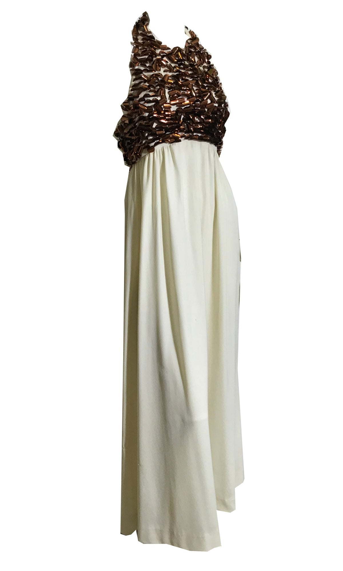 Bronze Paillette Adorned Halter Maxi Dress circa 1970s