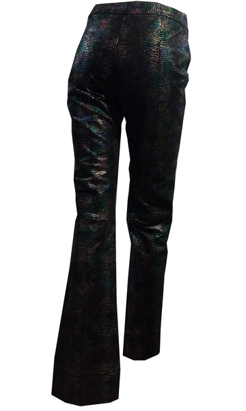 Rock Star Rainbow Iridescent Reptile Skin Print Leather Pants Flared Cuffs Hip Hugger circa 1980s