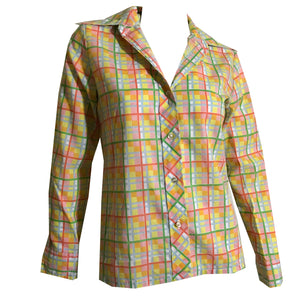 Bright Pastels Plaid Cotton Button Front Blouse circa 1960s