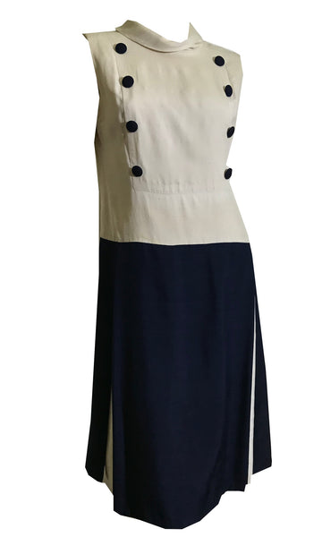 Military Inspired Navy and Soft White Slubbed Silk Dropped Waist Dress circa 1960s