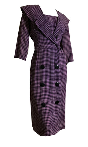 Purple and Black Checked Wide Lapel Dress circa 1940s