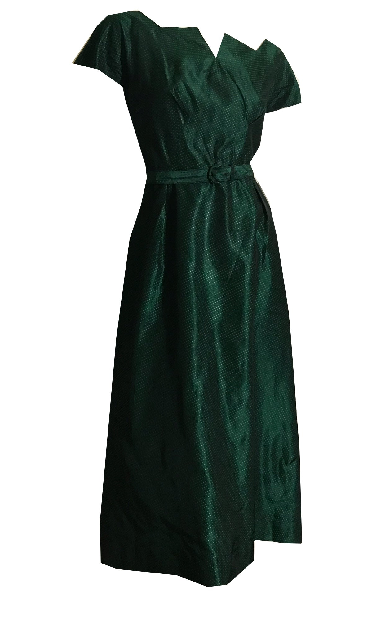 Peaked Neckline Emerald Green and Black Taffeta Cocktail Dress circa 1950s