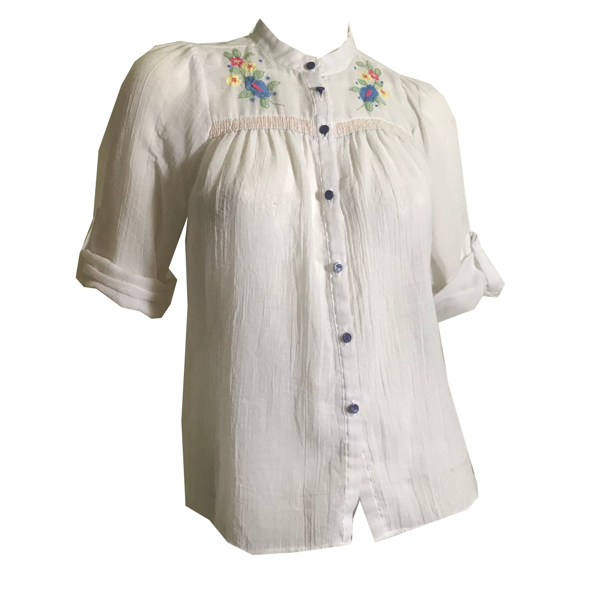 Folkloric Pastel Flora Embroidered Peasant Blouse circa 1970s