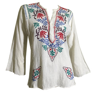 Gauzy White Cotton Embroidered Peasant Blouse with Hearts circa 1970s