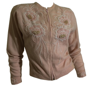 Blush Pink 3-D Pearl Beaded Zip Front Cashmere Sweater circa 1950s