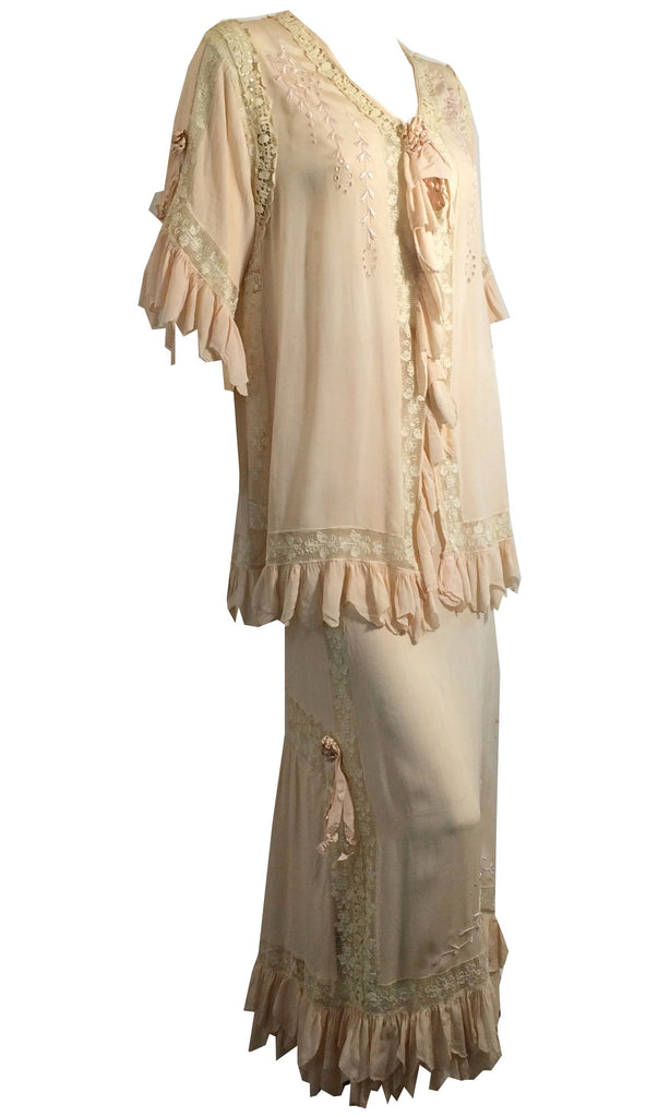 Charming Pink and Ivory Silk Boudoir Ensemble w/ Lace, Ribbons and Mob Cap circa Late Teens Dorothea's Closet Vintage Clothing