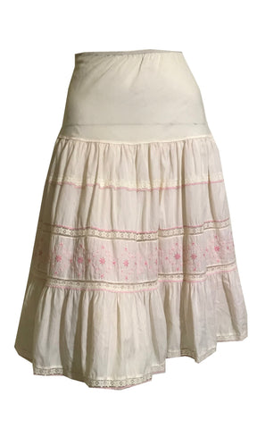 White and Pink Embroidered Cotton Crinoline Half Slip circa 1960s