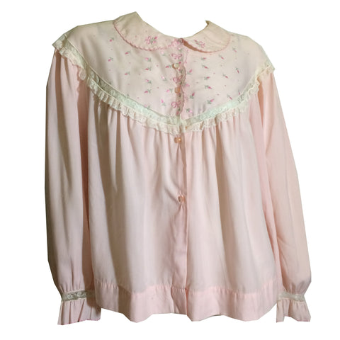 Brushed Pink Cotton Bow Trimmed Bed Jacket circa 1950s
