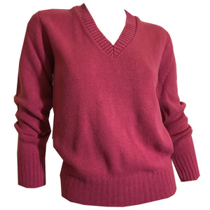 Rose Pink V Neck Sweater circa 1980s