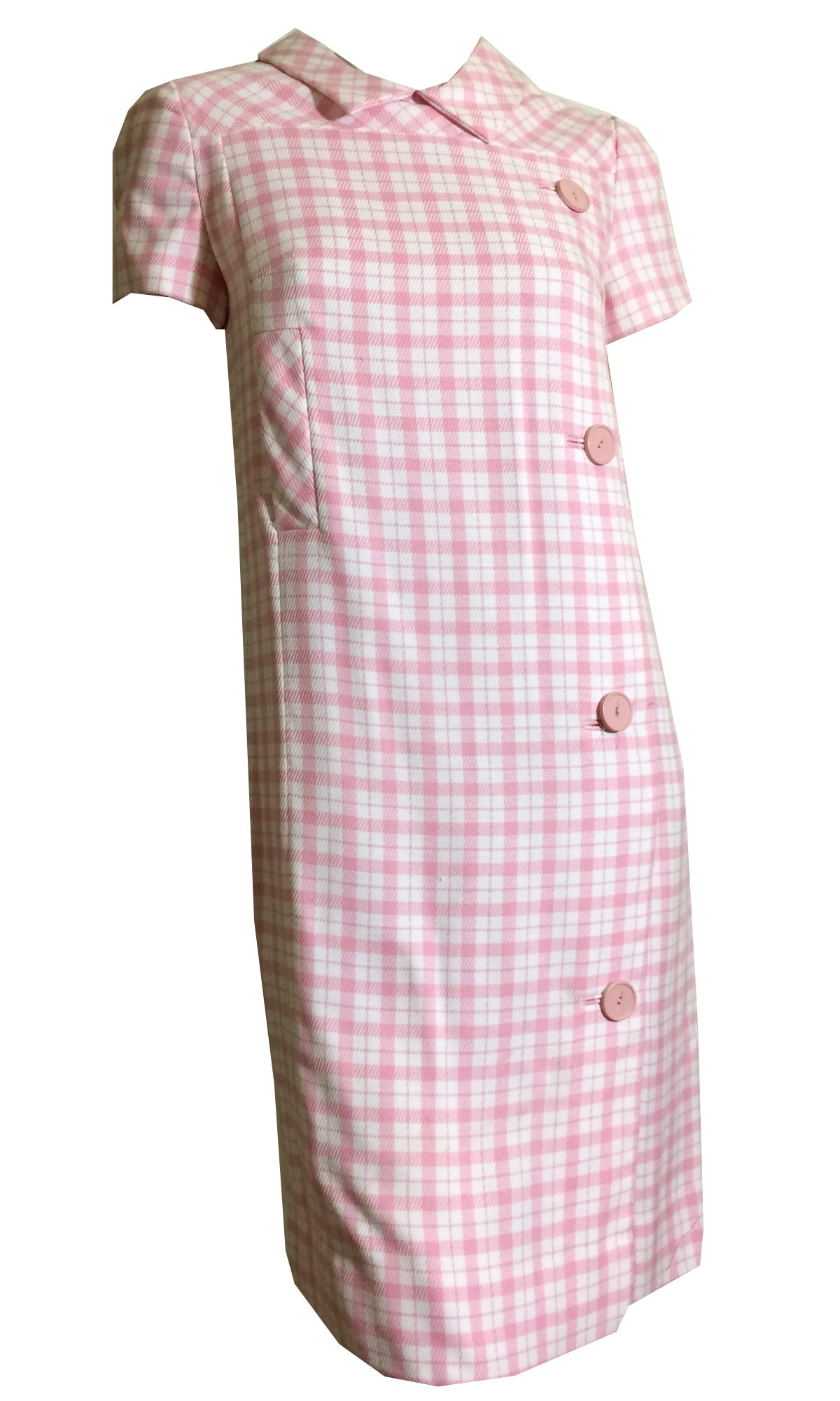 Preppy Pink Plaid Button Trimmed Shift Dress circa 1960s
