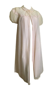 Pink Double Chiffon Robe with Faux Pearls and Lace circa 1960s