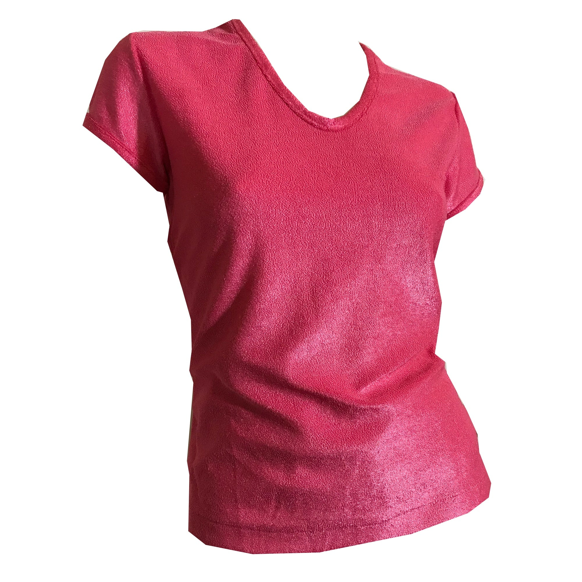 Shiny Terry Cloth Tee Shirt in PINK circa 1970s