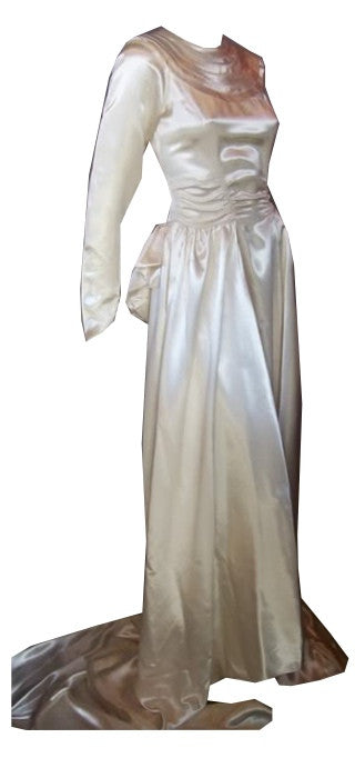 Soft White Slipper Satin Wedding Gown w/ Deco Neckline circa 1940s Dorothea's Closet Vintage Bridal Gown