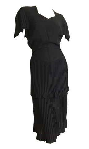 Pretty Pleated Black Tiered Skirt Cocktail Dress circa 1940s