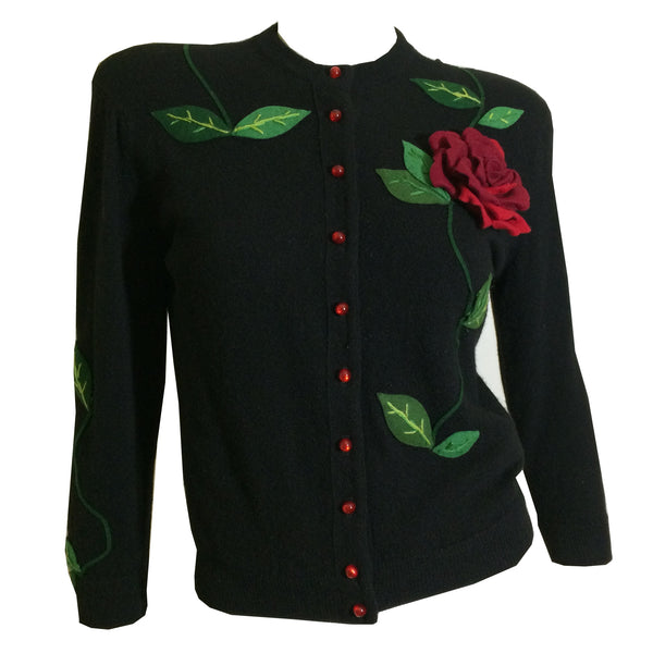 Rare Vining Red 3-D Rose Adorned Jet Black Cashmere Sweater circa 1950s Juli Lynne Charlot