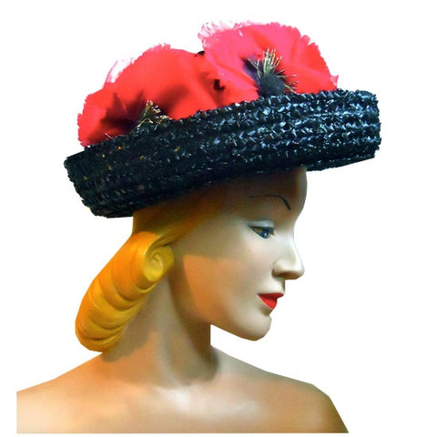 A Red Poppy Topped Black and White Sisal Hat with  circa 1960s
