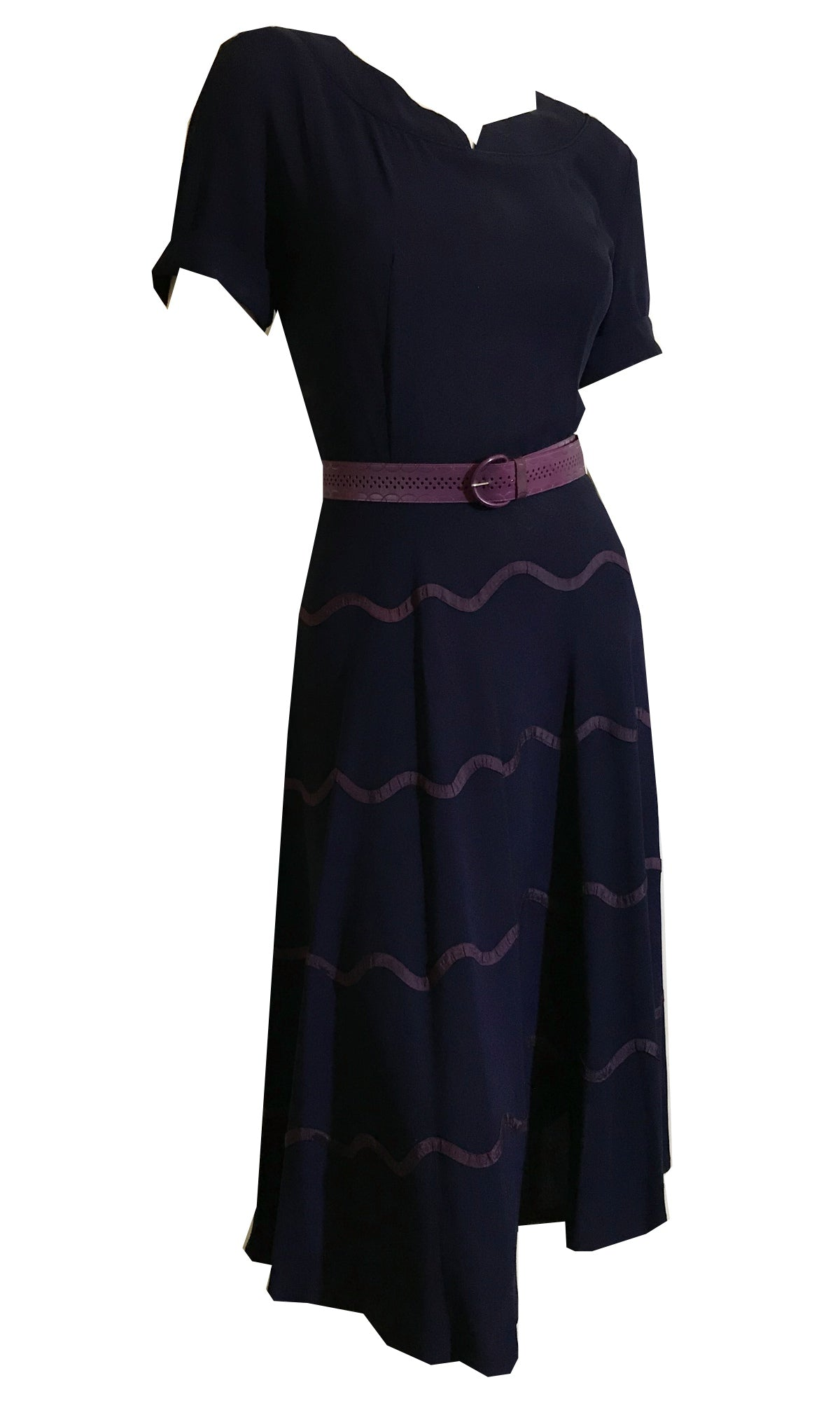 Navy Blue Crepe Rayon Dress with Purple Wave Ribbons on Skirt circa 1940s
