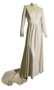 Faux Pearl Trimmed Jersey Nylon Wedding Gown circa 1960s