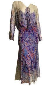 Incredible Purple, Orange and Blue Nouveau Print Silk Chiffon Dress circa 1920s