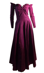 Raspberry Moire Taffeta Strapless Evening Gown w/ Detached Sleeves circa 1940s