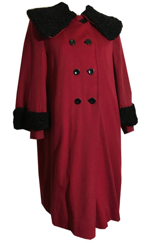 Persian Lamb Trimmed Garnet Red Wool Coat 1940s