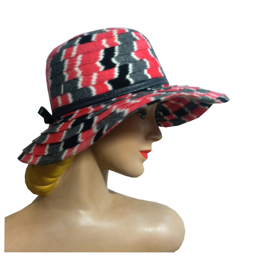 Red, Black and Grey Zig Zag Striped Wool Wide Brim Hat circa 1960s Dorothea's Closet Vintage Clothing