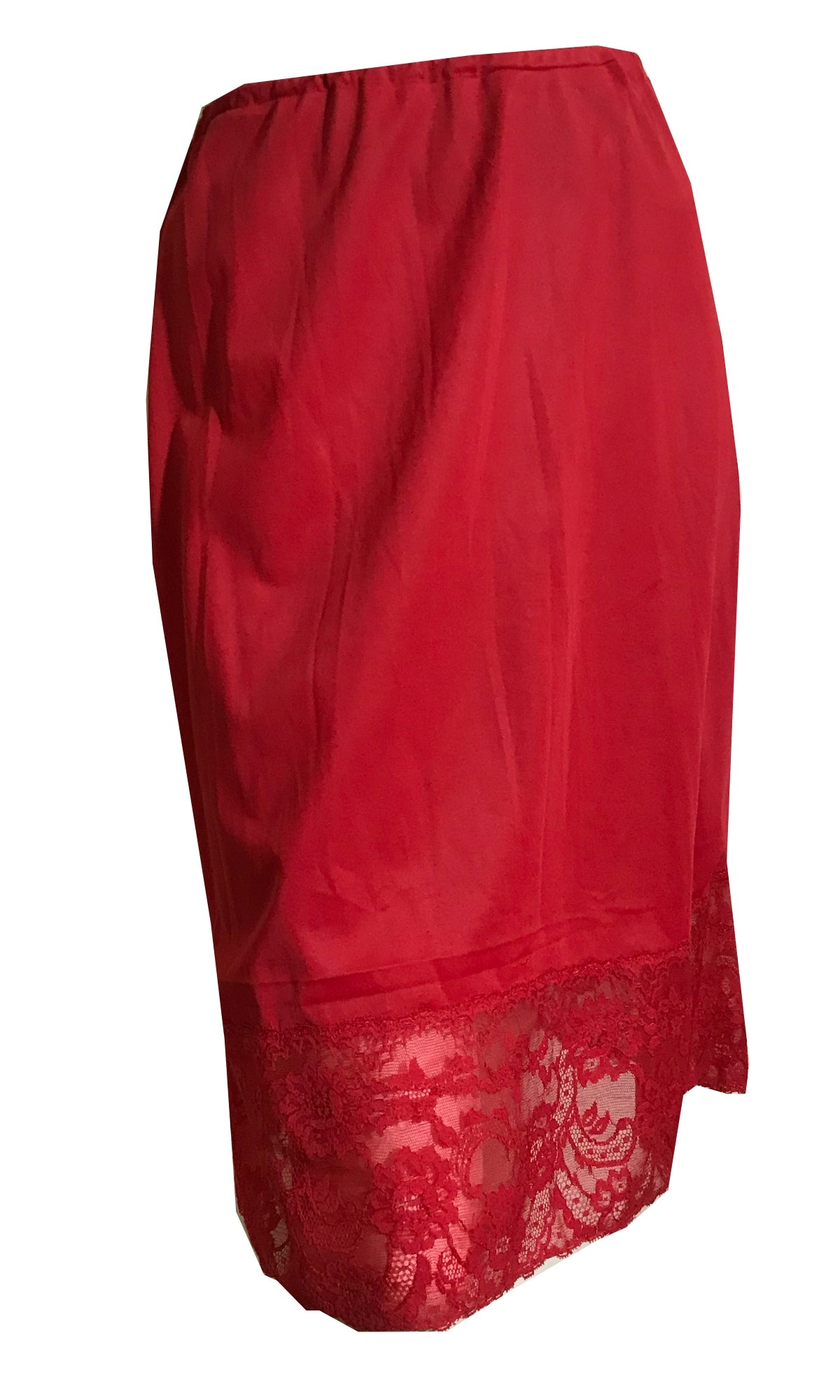 Lipstick Red Nylon Half Slip with Wide Lace Hem circa 1960s