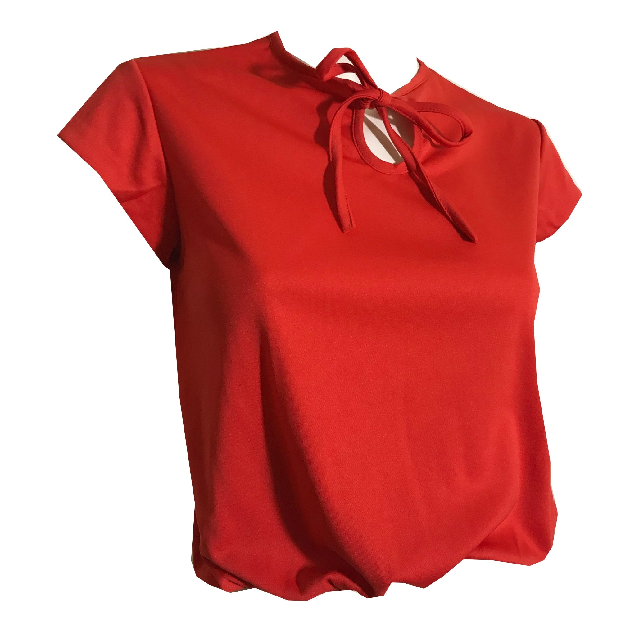 Rose Red Keyhole Neckline Shirt with Bow circa 1970s