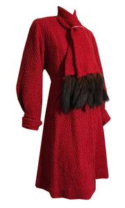 Ruby Red Boucle Wool Nipped Waist Coat with Mink Tail Scarf Collar and Celluloid Ring with Rhinestones 1940s