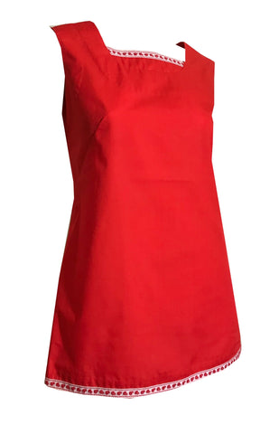 Cherry Red Sleeveless Tunic Top with Ribbon Trim circa 1970s