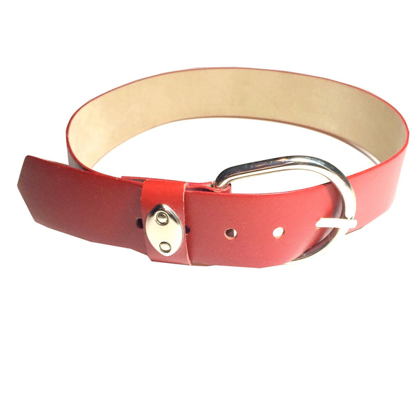 Mod Wide Red Leather Belt w/ Silver Bucket circa 1960s