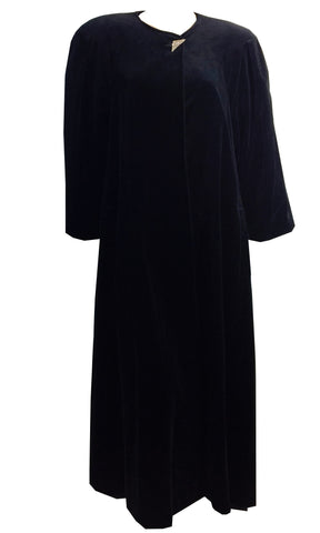 Witchy Glamour Black Velvet Long Coat w/ Rhinestone Button circa 1980s