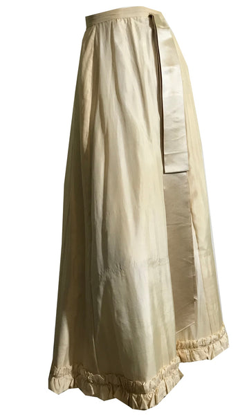 Ivory Silk Ruffled Hem Full Length Skirt with Pale Grey Wide Ribbon Trim circa 1890s