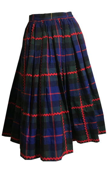 Ric Rac Trimmed Preppy Plaid Cotton Full Skirt circa 1940s