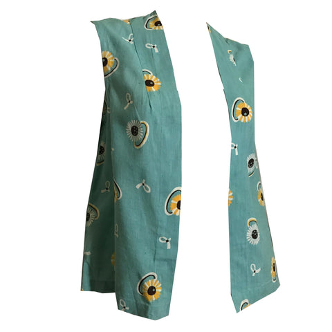 Aqua Blue Rayon Open Front Vest with Daisy Rings and Ribbons circa 1930s