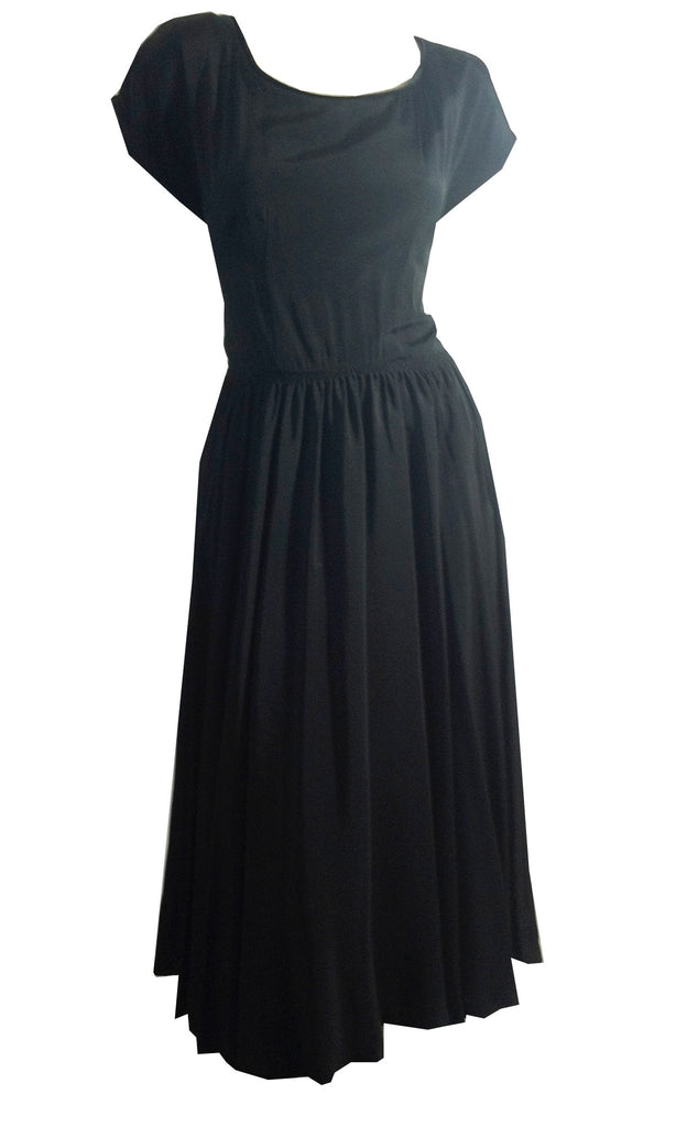 Flirty Black Rayon Full Skirt Party Dress w/ Shirred Waist and Velvet Trim circa 1950s Dorothea's Closet Vintage Dress