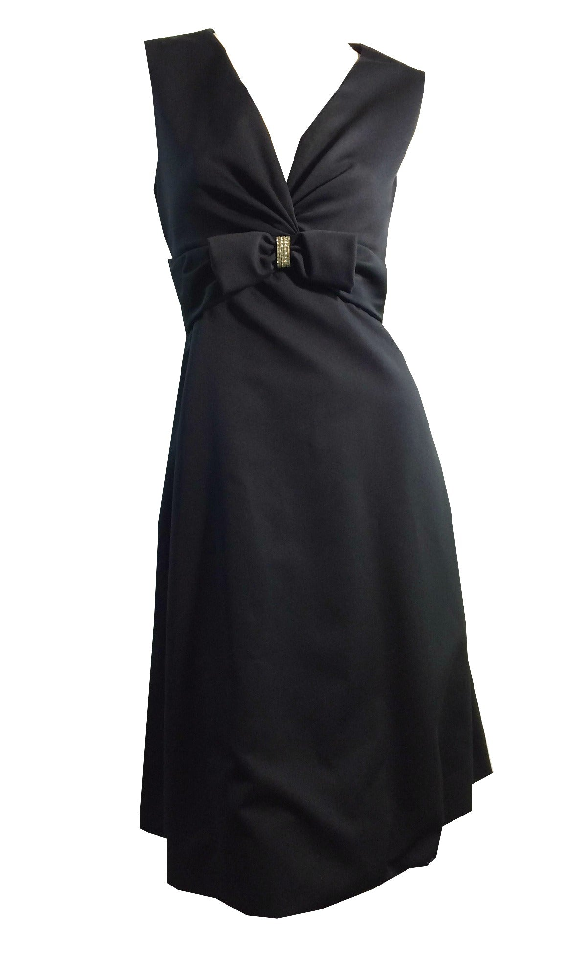 Black Bow and Rhinestone Trimmed Cocktail Dress circa 1960s