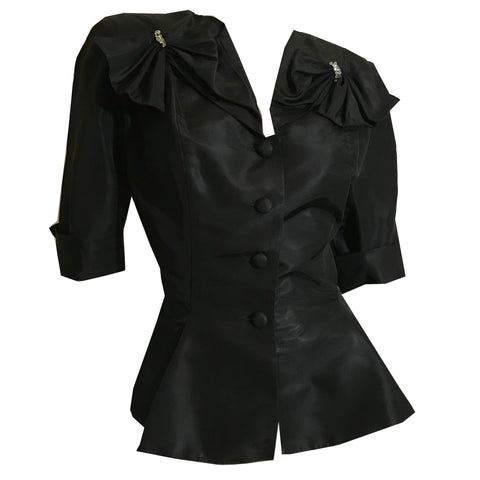 Black Faille Nipped Waist Jacket with Rhinestone Trimmed Bows circa 1950s