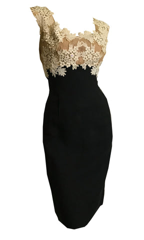 Exquisite Sparkling Rhinestone Illusion Lace Bodice Little Black Cocktail Dress circa 1950s