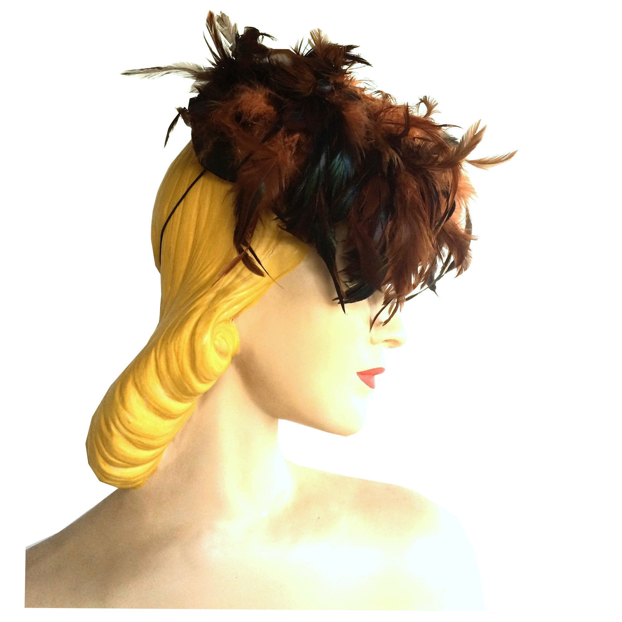 Cinnamon Feather Topped Autumn Tilt Hat circa 1940s
