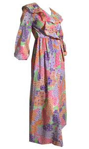 Ditsy Bright Floral Print Wrap Style Dressing Gown Robe circa 1970s