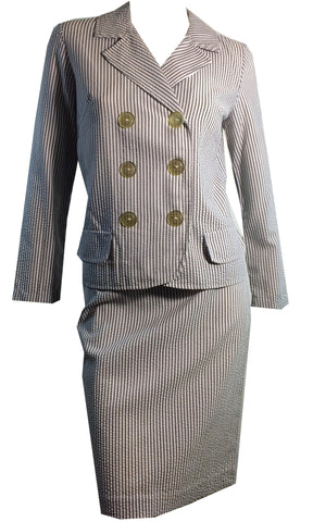 Seersucker Grey and White Striped Cotton Suit circa 1960s